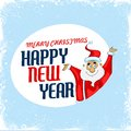Merry christmas and happy new year easy to edit illustration of santa wishing Stock Photography