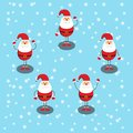 Merry christmas and Happy New Year, Five Santa Claus Do many gestures