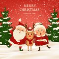 Merry Christmas. Happy new year. Funny Santa Claus with cute Mrs. Claus, red-nosed Reindeer in Christmas snow scene Royalty Free Stock Photo