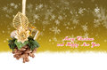 Merry christmas and happy new year gold background with balls Stock Photo