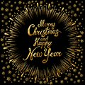Merry Christmas and Happy New Year gold Shiny Glitter. Calligraphy Typographical on golden Xmas background with winter landscape w Royalty Free Stock Photo