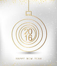 Merry christmas happy new year gold 2016 spiral shape. Ideal for xmas card or elegant holiday party invitation. EPS10 vector.