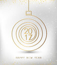 Merry christmas happy new year gold 2017 spiral shape. Ideal for xmas card or elegant holiday party invitation.