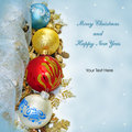 Merry Christmas and Happy New Year greeting card Stock Photography