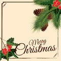 Merry Christmas and Happy New Year greeting card with Chrirstmas decorations fir cones, holly berry. Vector illustration Royalty Free Stock Photo