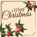 Merry Christmas and Happy New Year greeting card with Chrirstmas decorations holly berry. Vector illustration, baner Royalty Free Stock Photo