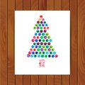 Merry Christmas and Happy New Year greeting card, Christmas tree made of watercolor circles. Watercolor Xmas Tree on the