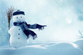 Merry christmas and happy new year greeting card with copy-space.Happy snowman standing in winter christmas Royalty Free Stock Photo