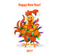 Merry Christmas and Happy New Year Greeting Card with Cute Funny Rooster wrapped in christmas led light. Royalty Free Stock Photo