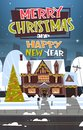 Merry Christmas And Happy New Year Greeting Card With Green Holiday Tree Near Snowy House