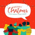 Christmas and New Year diverse people group card Royalty Free Stock Photo