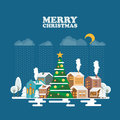 Merry Christmas and a Happy New Year greeting card in modern flat design. Snowy landscape on blue background