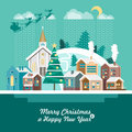 Merry Christmas and a Happy New Year greeting card in modern flat design. Snowy village