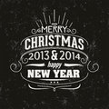 Merry christmas and happy new year greeting card typographic design Royalty Free Stock Photos
