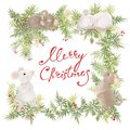 Merry Christmas and happy new year greeting card vintage frame. Retro frame, wreath with decoration and white mouses. Symbol Royalty Free Stock Photo