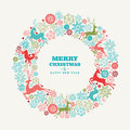 Merry christmas and happy new year greeting card wreath shape background eps vector file organized in layers for easy editing Royalty Free Stock Photography