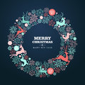 Merry christmas and happy new year greeting card wreath shape background eps vector file organized in layers for easy editing Royalty Free Stock Photos