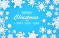 Merry Christmas Happy and New Year Greetings card. White snow flake. . Winter snowflakes background