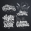 Merry Christmas. Happy New Year. Handwritten modern brush lettering, Typography set Royalty Free Stock Photo