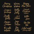 Merry Christmas, Happy New year and happy holidays creative lettering. Gold letters isolated on black background. Designed for web