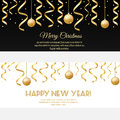 Merry Christmas, happy new year horizontal banners with golden streamers and baubles