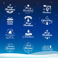 Merry Christmas and Happy New Year icon set. Typography, text de