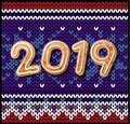 Merry Christmas 2019 and Happy new year an inscription in neon letters on a brick wall.
