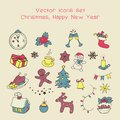 Christmas holidays icon set. Classic hand-drawn New Year elements, vintage style. Royalty Free Stock Photo