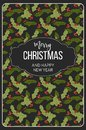 Merry Christmas happy New Year, mistletoe seamless pattern