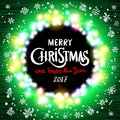Merry Christmas and Happy New Year 2017 realistic ultra green colorful light garlands like round frame on a transparent background Royalty Free Stock Photo