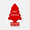 Merry Christmas and Happy New Year, red Christmas tree sticker Royalty Free Stock Photo