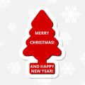 Merry Christmas and Happy New Year, red Christmas tree Royalty Free Stock Photo