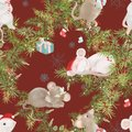 Merry Christmas and happy new year red seamless pattern , wreath with decoration and white mouses. Symbol Royalty Free Stock Photo