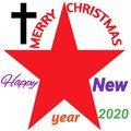 MERRY CHRISTMAS  And Happy New Year. Red Star ,Chirstian Cross Symbol With White Background.