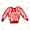 Merry christmas and happy new year in red sweater vector card with hand drawn unique typography design element for greeting cards Stock Photography