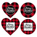 Merry Christmas and Happy New Year Round and heart - shaped cards checkered texture is black with red. Lettring Royalty Free Stock Photo
