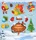 Merry Christmas and Happy New Year. Santa Claus. Christmas tree. Wooden sign. Gift box. Winter background. Vector icon set