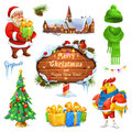 Merry Christmas and Happy New Year. Santa Claus. Christmas tree. Wooden sign. Gift box. Winter knitted hat. Vector icon set Royalty Free Stock Photo
