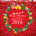 Merry Christmas and Happy New Year 2016. Santa Claus and reindeer. The white snow and Christmas accessories on red background Royalty Free Stock Photo