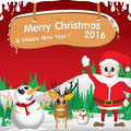 Merry Christmas and Happy New Year 2016. Santa Claus and reindeer. The white snow and Christmas accessories on red background. Royalty Free Stock Photo