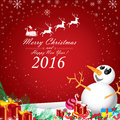 Merry Christmas and Happy New Year 2016. Santa Claus and white reindeer. Royalty Free Stock Photo