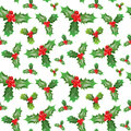Merry Christmas and Happy New Year Seamless Pattern with Holly Berries. Winter Holidays Wrapping Paper