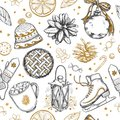 Merry Christmas and Happy New Year Seamless Pattern. Vector hand drawn winter elements . Print