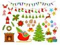 Merry Christmas and Happy New Year, seasonal, winter xmas decoration items set