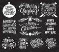 Merry Christmas And Happy New Year. Set of vector retro and vintage calligraphy lettering labels on chalkboard background. Royalty Free Stock Photo