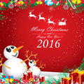 Merry Christmas and Happy New Year 2016. Two snowman in winter on red background. Royalty Free Stock Photo