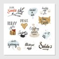 Merry Christmas and Happy New Year typography designs set. Vector illustration
