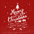Merry Christmas And Happy New Year Typography Hand Drawn
