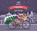Merry Christmas and Happy New Year vector greeting card in flat style with bicycle.