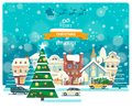 Merry Christmas and Happy New Year vector greeting card in flat style.